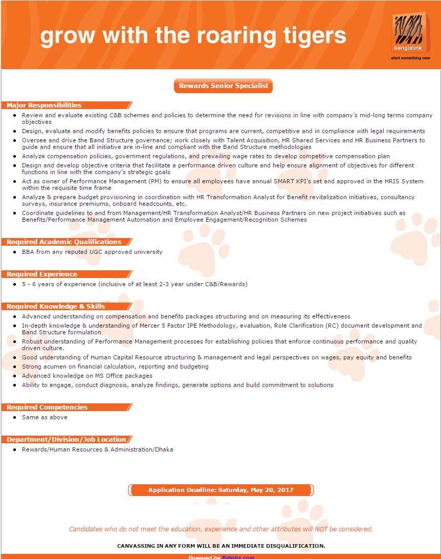 Banglalink Job Circular 2017