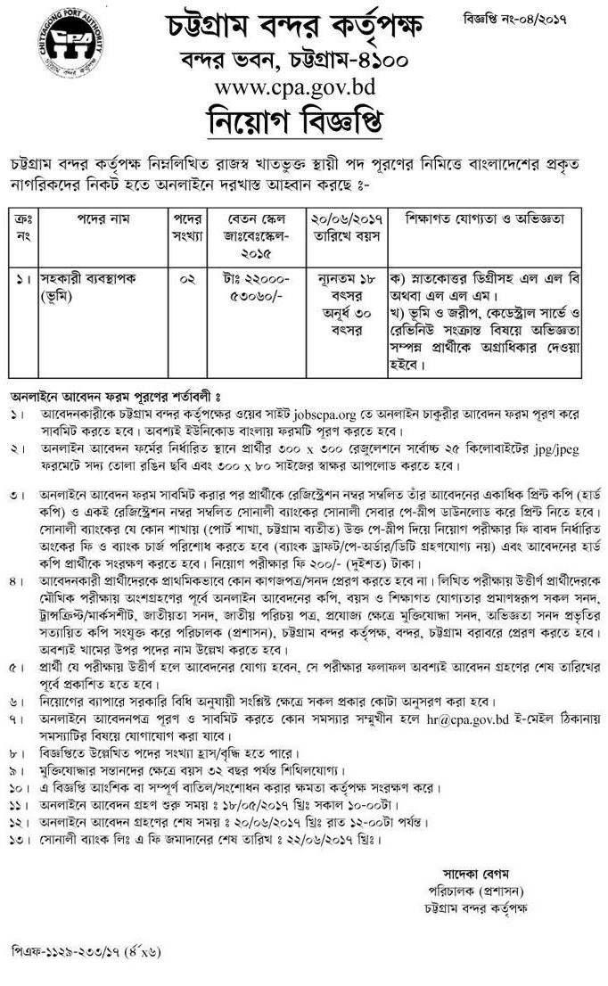 Chittagong Port Authority Job Circular 201
