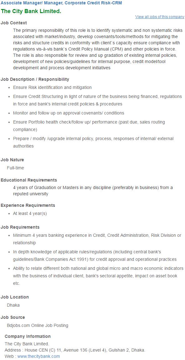 City Bank Limited Jobs Circular 2017