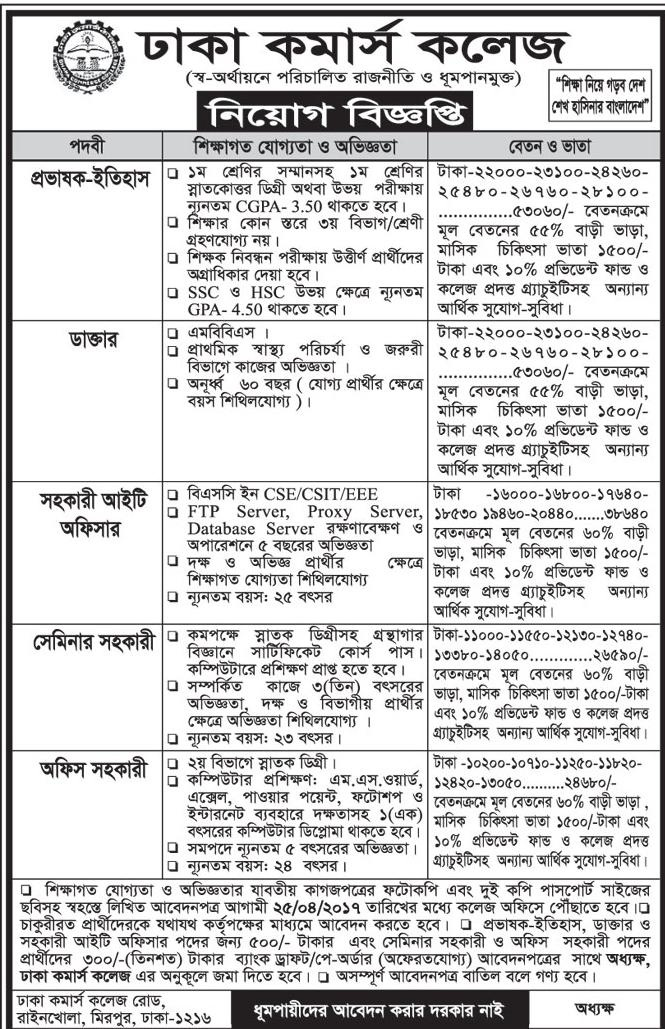 Dhaka Commerce Collage Job Circular 2017