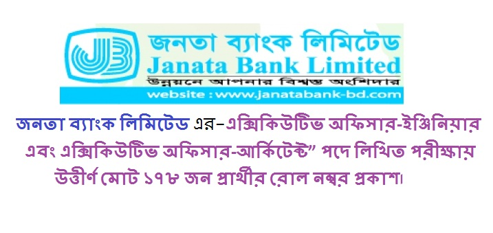 Janata Bank Limited Job Circular Exam Result 2018