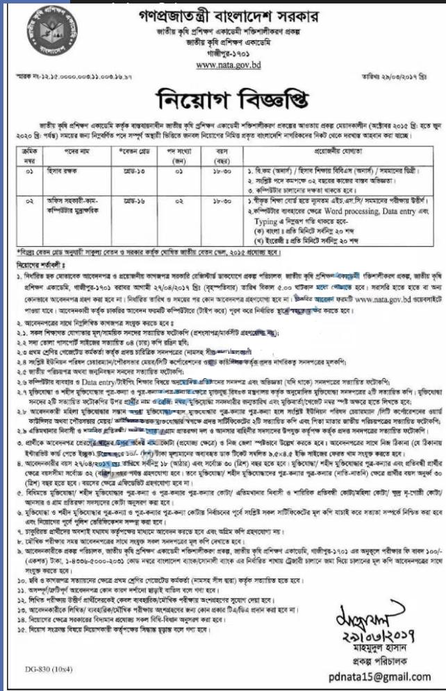 National Agriculture Training Academy (NATA) Job Circular 2017