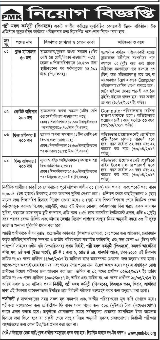 Polli Mangol Karmoshuchi Job Circular 2017