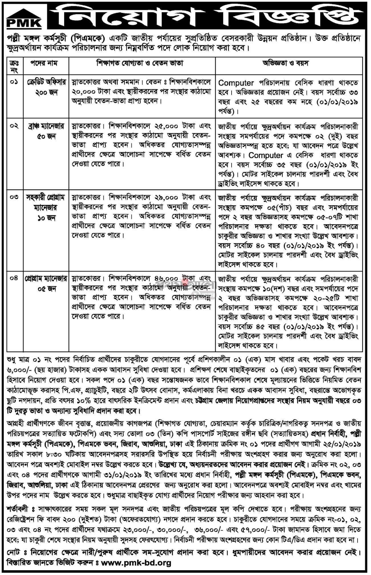 Polli Mangol Karmoshuchi (PMK) Job Circular 2019