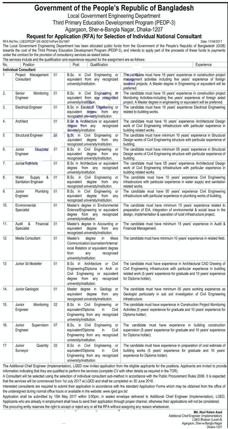 Primary Education Development Program (PEDP) Job Circular 2017