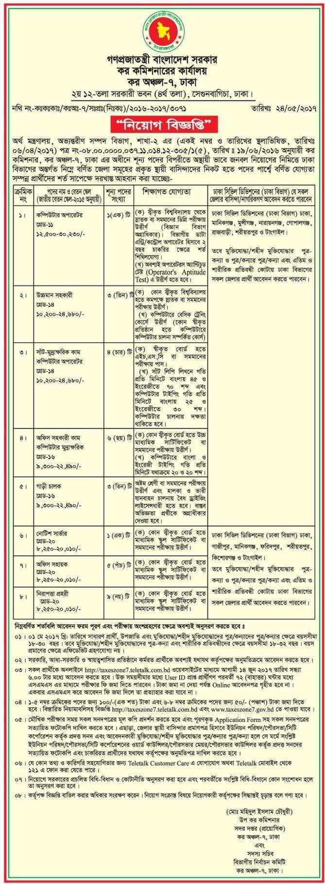 Tax Commissioner office Job Circular 2017