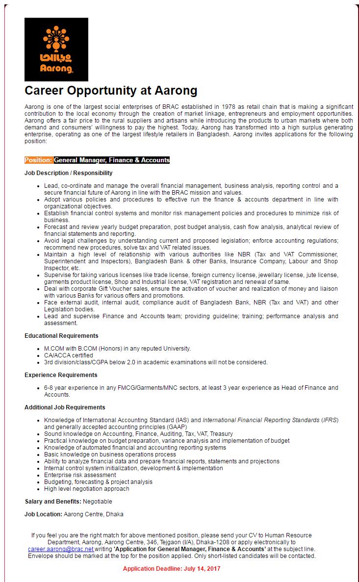 Aarong Job Circular 2017