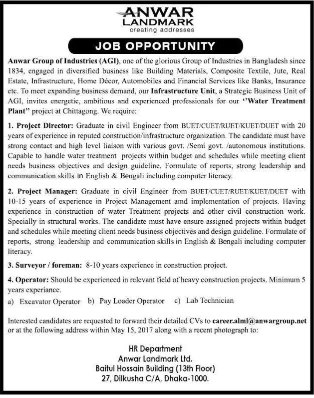 Anwar Landmark Ltd Job Circular 2017