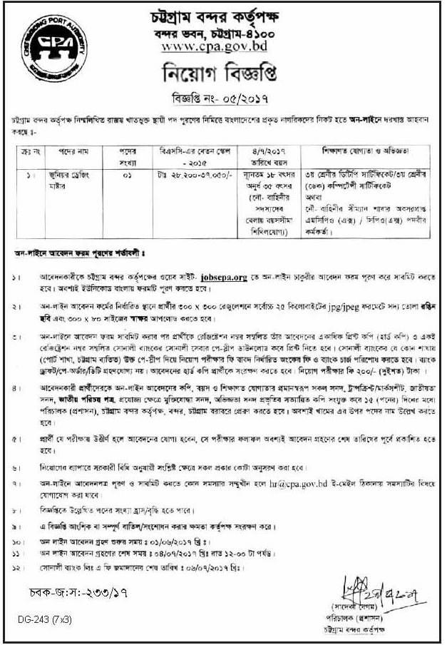 Chittagong Port Authority Job Circular 2017