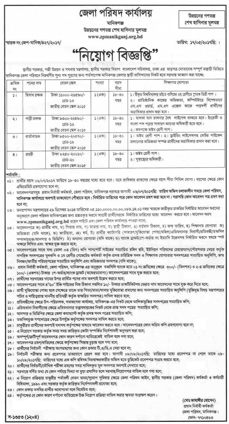 Manikganj District Council Office Job Circular 2017