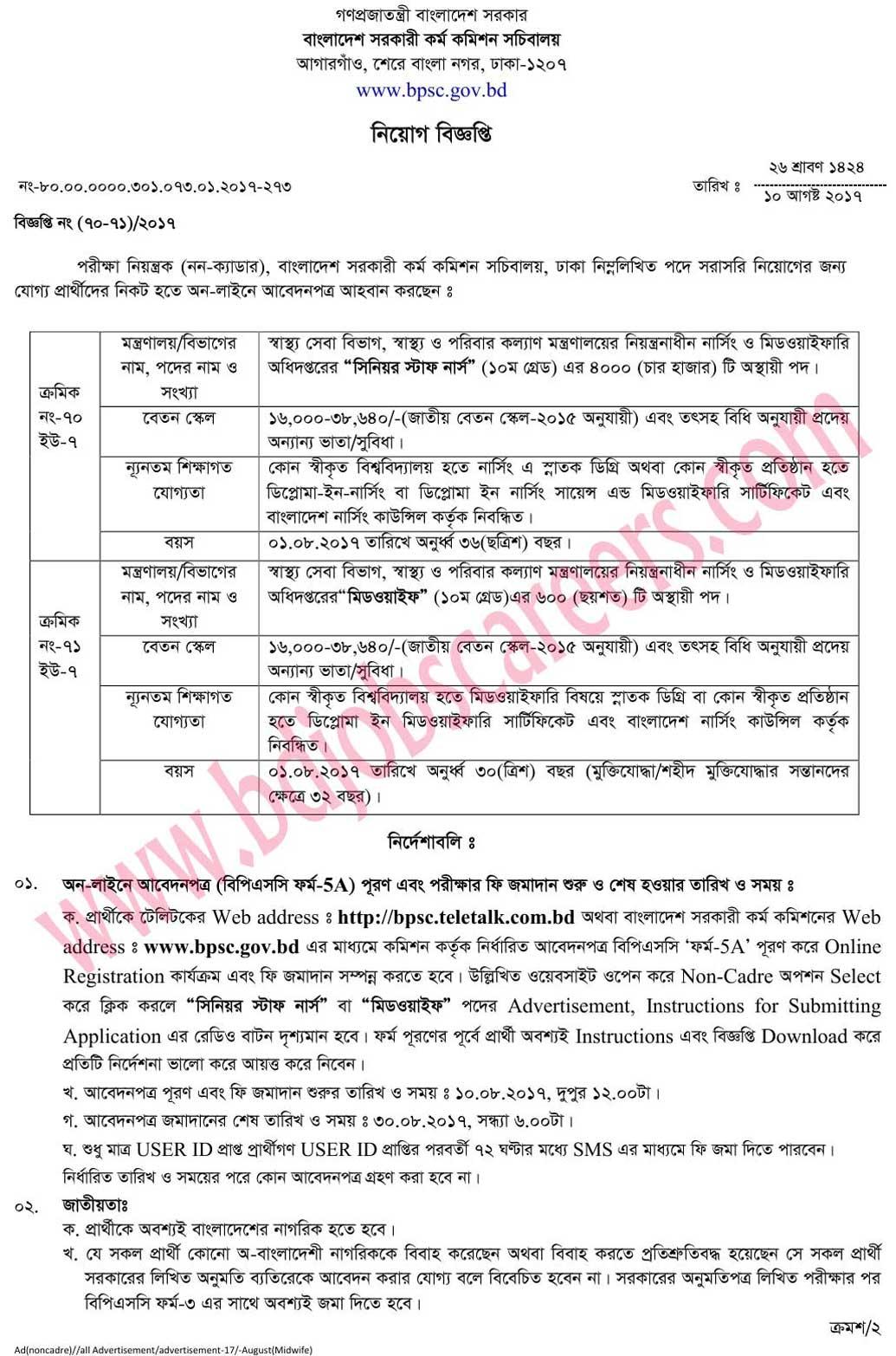 Ministry of Health and Family Welfare Job Circular 2017