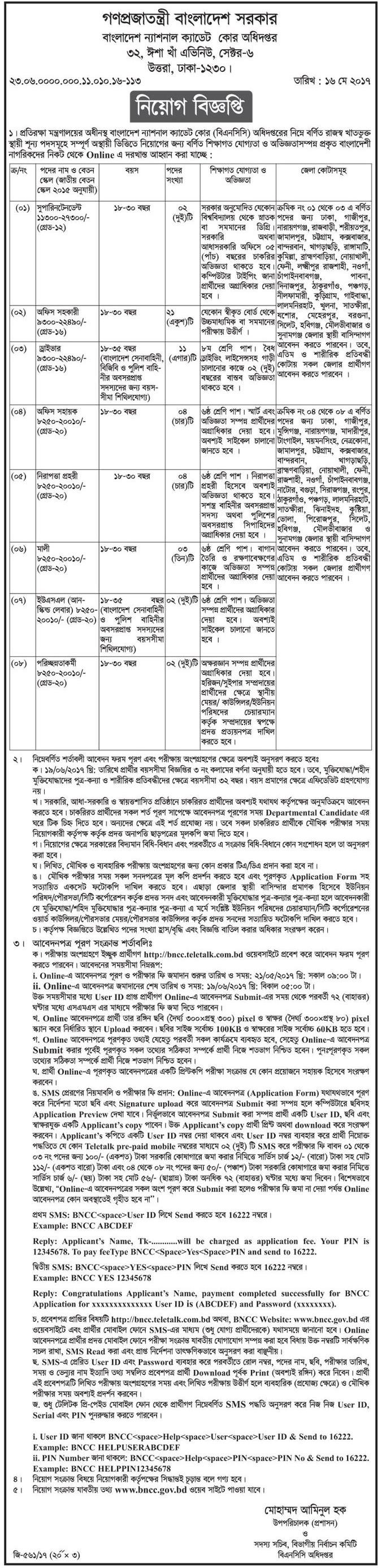 National Cadet Corps Directorate Job Circular 2017