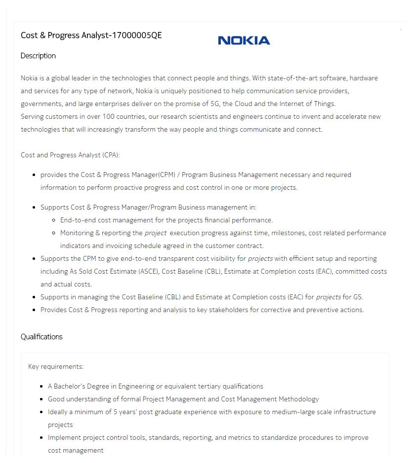 Nokia Mobile Company Job Circular 2017