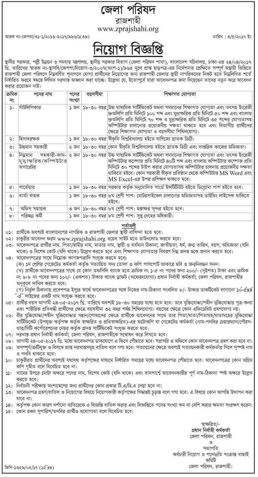 Rajshahi District Council Office Job Circular 2017