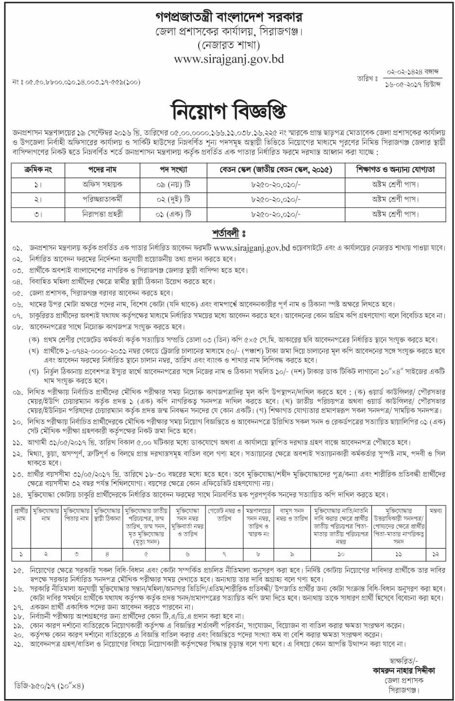 Sirajganj Deputy Commissioner's Office Job Circular 2017