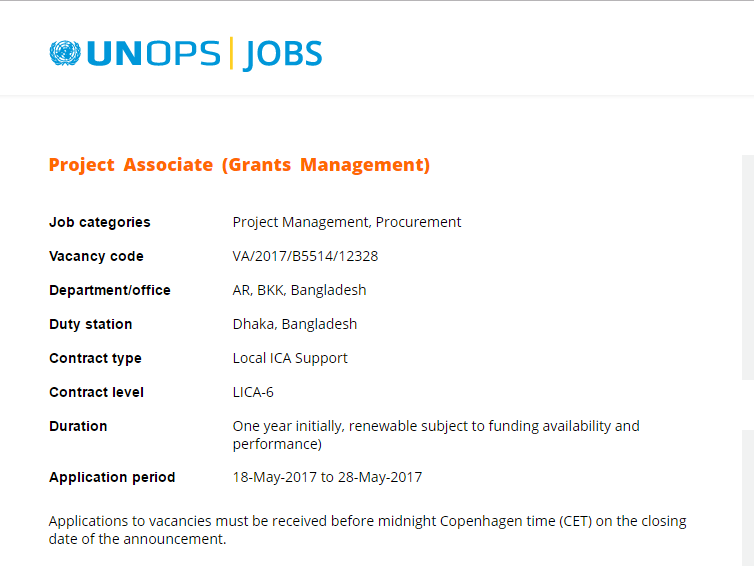 UNOPS-United Nations Office for Project Services Job Circular 2017