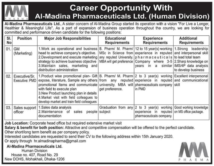 Al-Madina Pharmaceuticals Limited Job Circular 2020