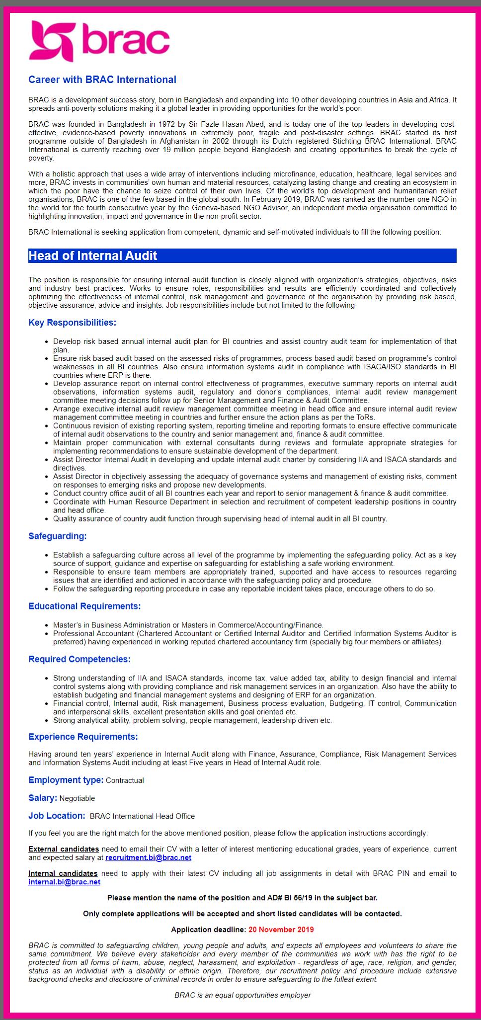BRAC International Job Circular 2019