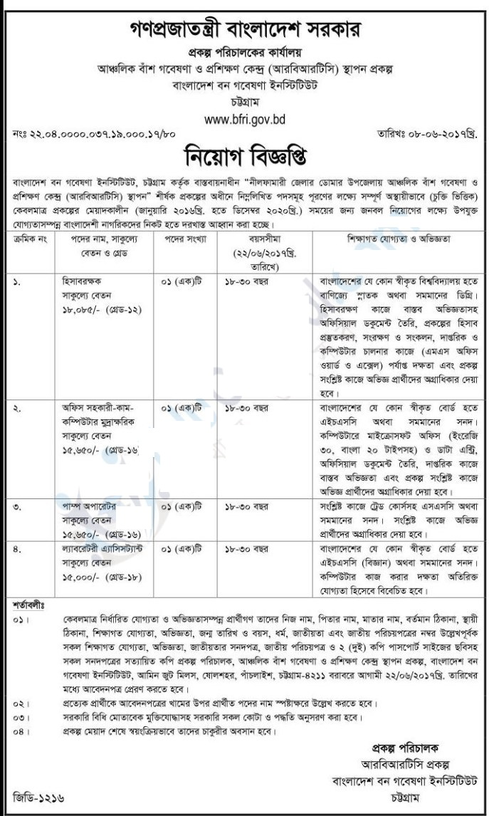 Bangladesh Forest Research Institute Job Circular 2017