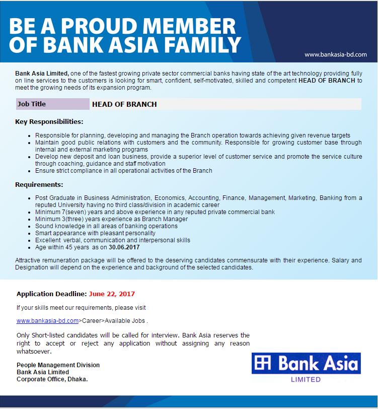 Bank Asia Limited Job Circular 2017