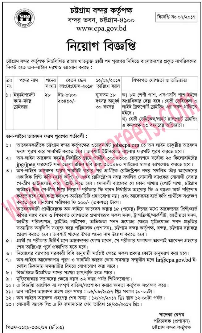 Chittagong Port Authority Job Circular 2017