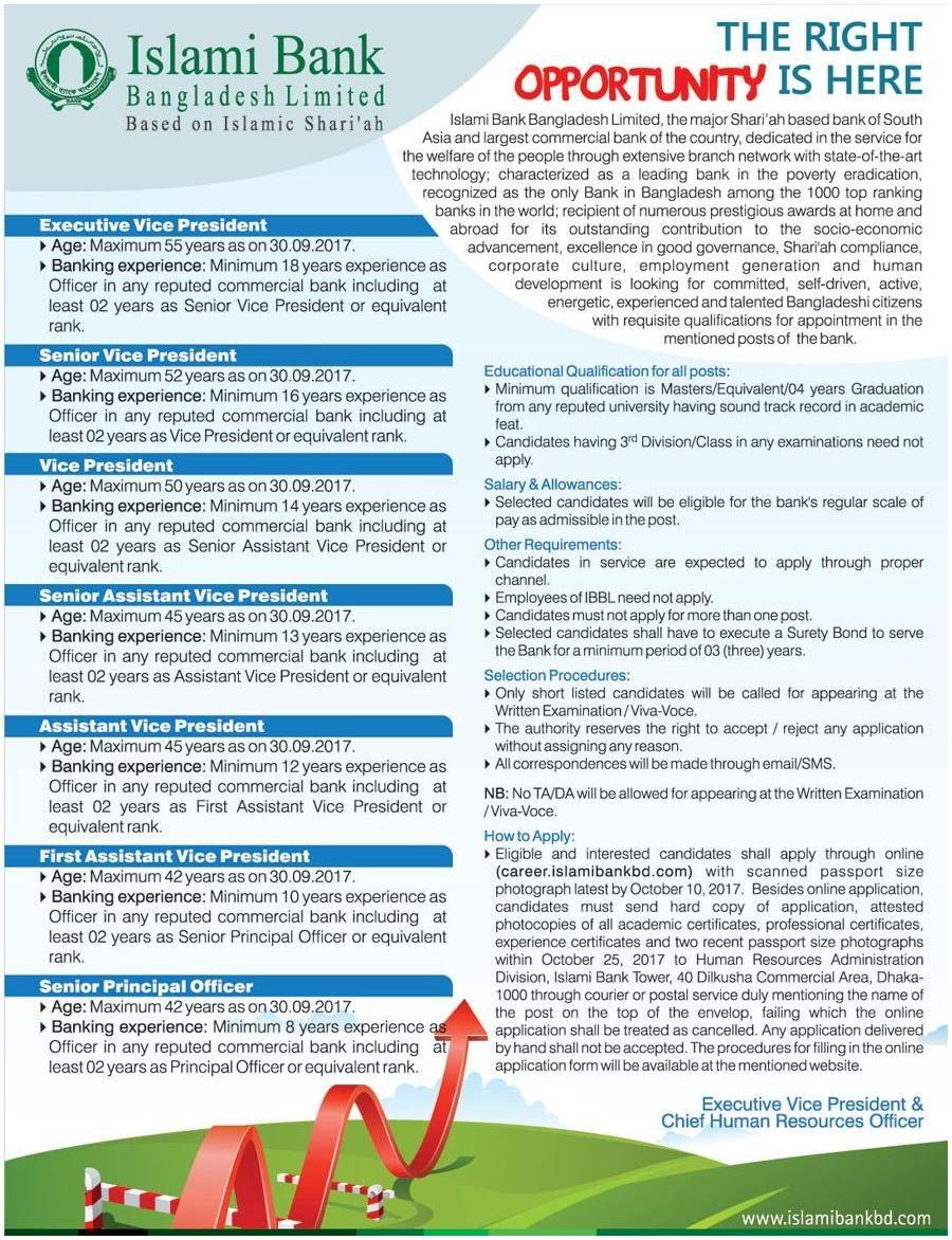 Islami Bank Bangladesh Limited Job Circular 2017