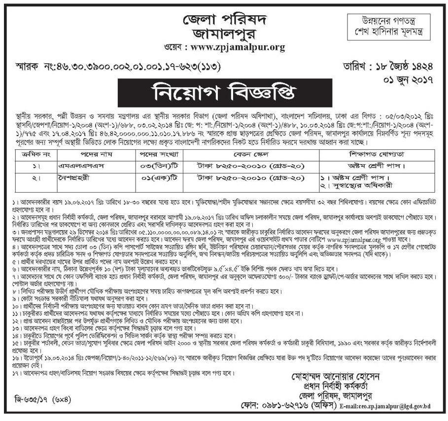 Jamalpur District Council Job Circular 2017