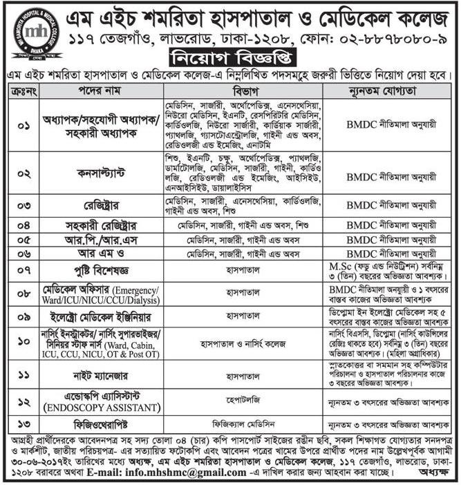 amorita Hospital and Medical College Job Circular 2017