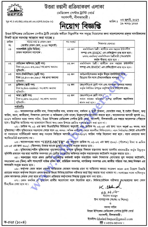 Uttara Export Processing Zone Job Circular 2017