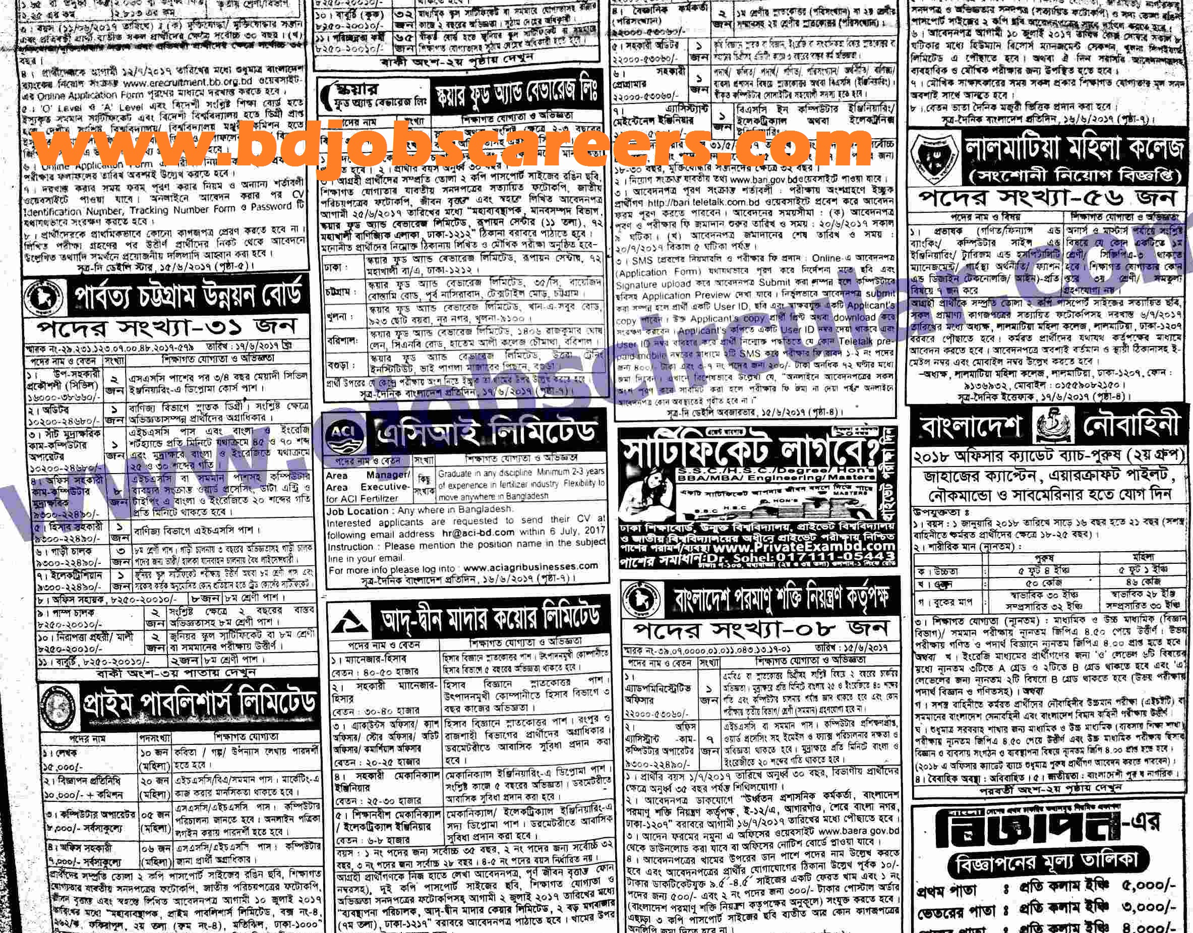 weekly jobs newspaper in June 2017