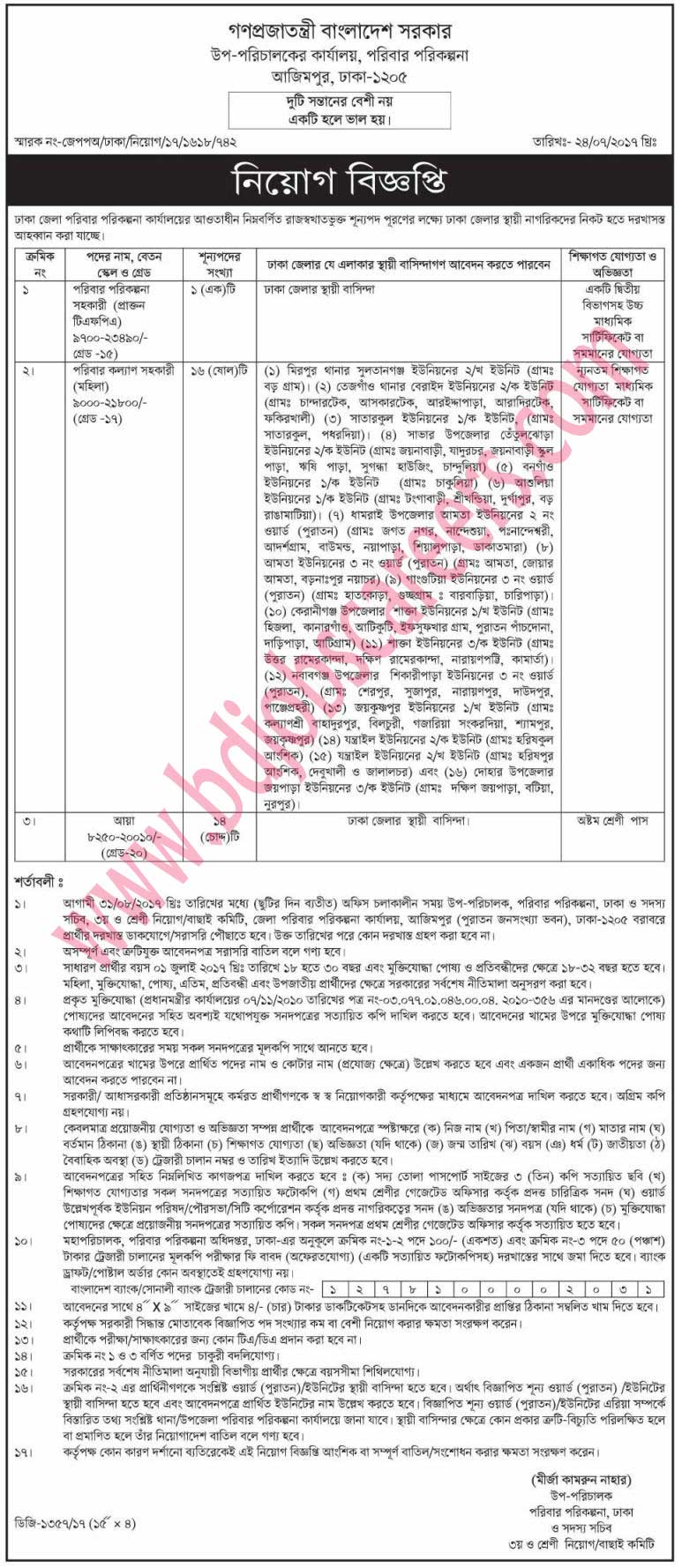 Azimpur Family Planning Deputy Director's Office Job Circular 2017
