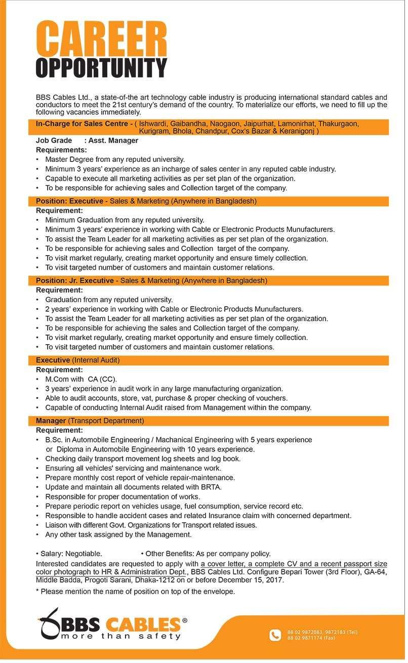 BBS Cables Ltd Job Circular 2017