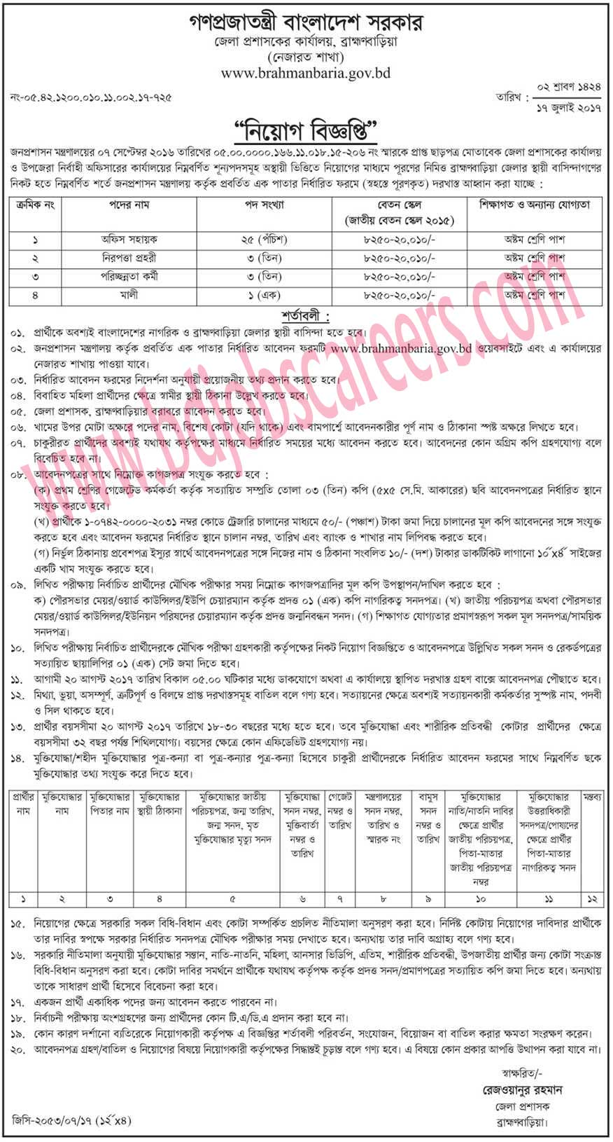 Brahmanbaria Deputy Commissioner's Office Job Circular 2017
