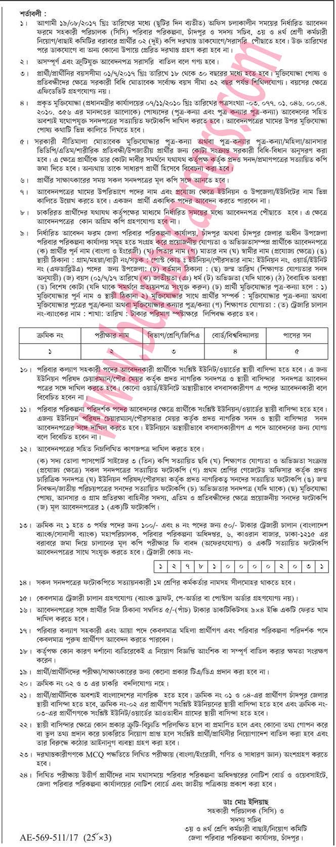 Chandpur District Family Planning Office Job Circular 2017-1