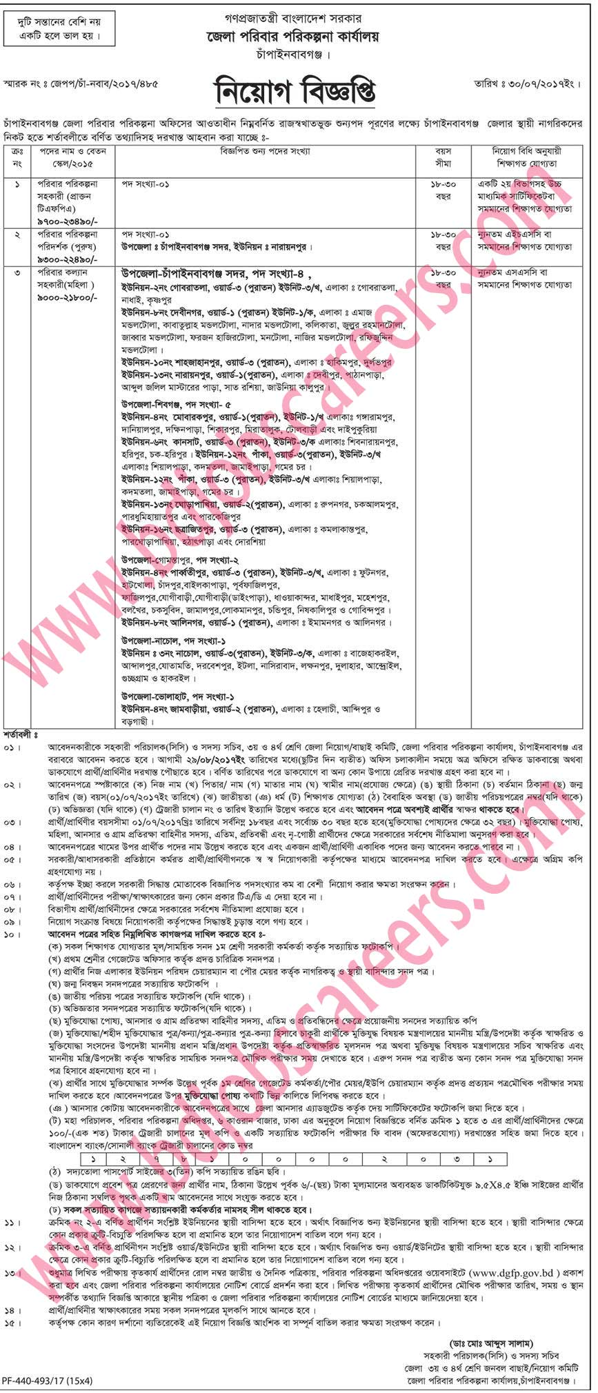 Chapainawabganj District Family Planning Office Job Circular 2017