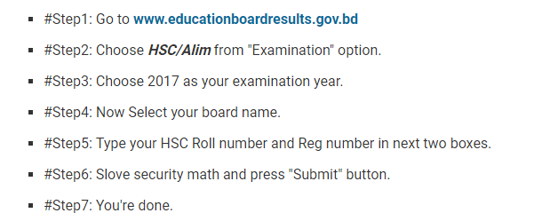 Check H.S.C Exam Result 2017 Bangladesh by educationboardresults.gov.bd