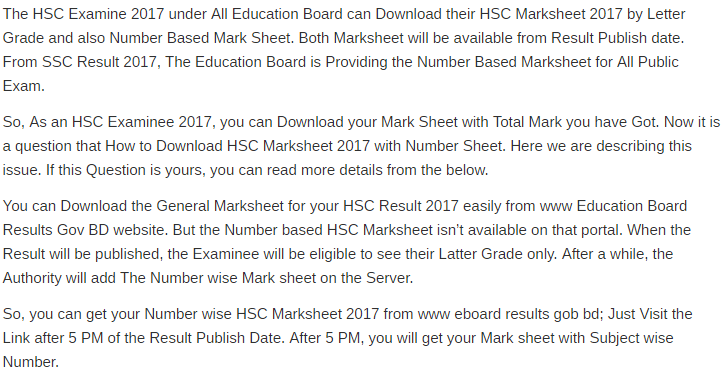 HSC Exam Subject Wise Mark Sheet Result 2017.