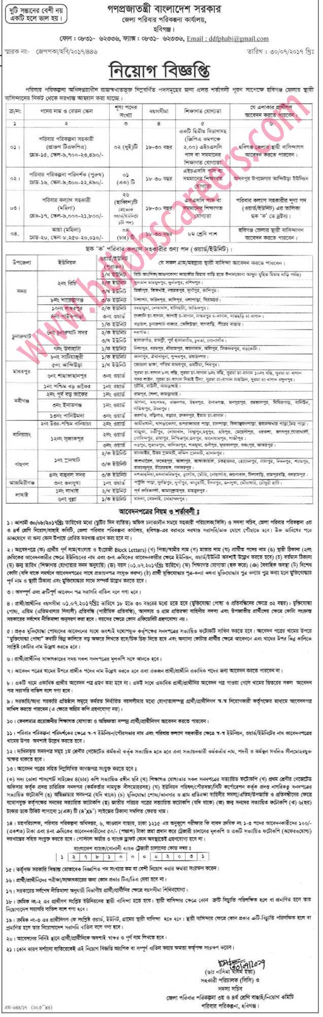 Habiganj District Family Planning Office Job Circular 2017