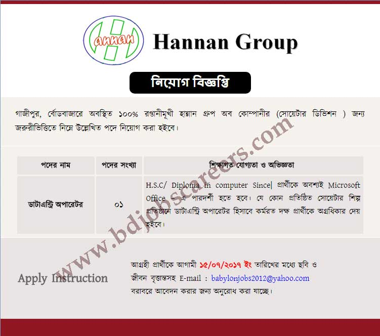 Hannam Group Job Circular 2017