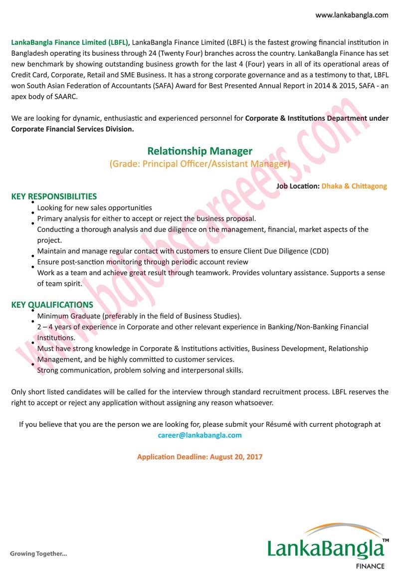 LankaBangla Finance Ltd Job Circular 2017