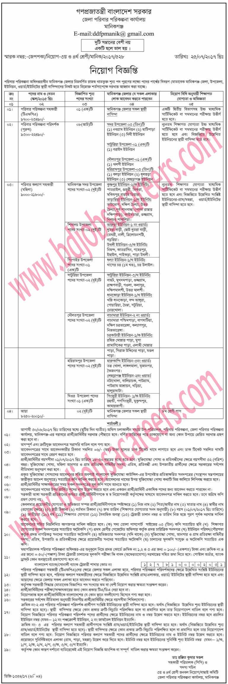 Manikganj District Family Planning Office Job Circular 2017
