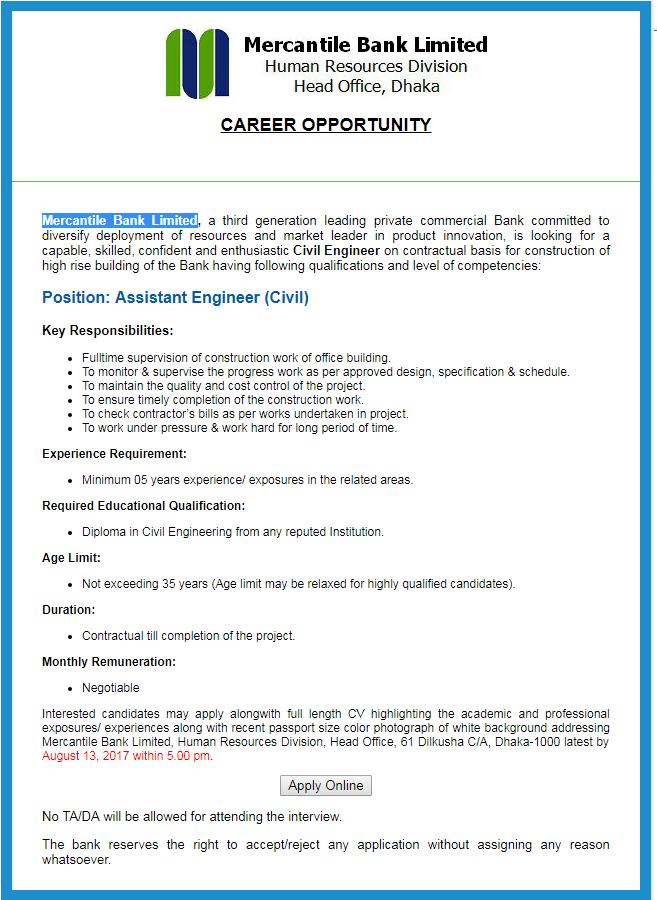 Mercantile Bank Limited Job Circular 2017