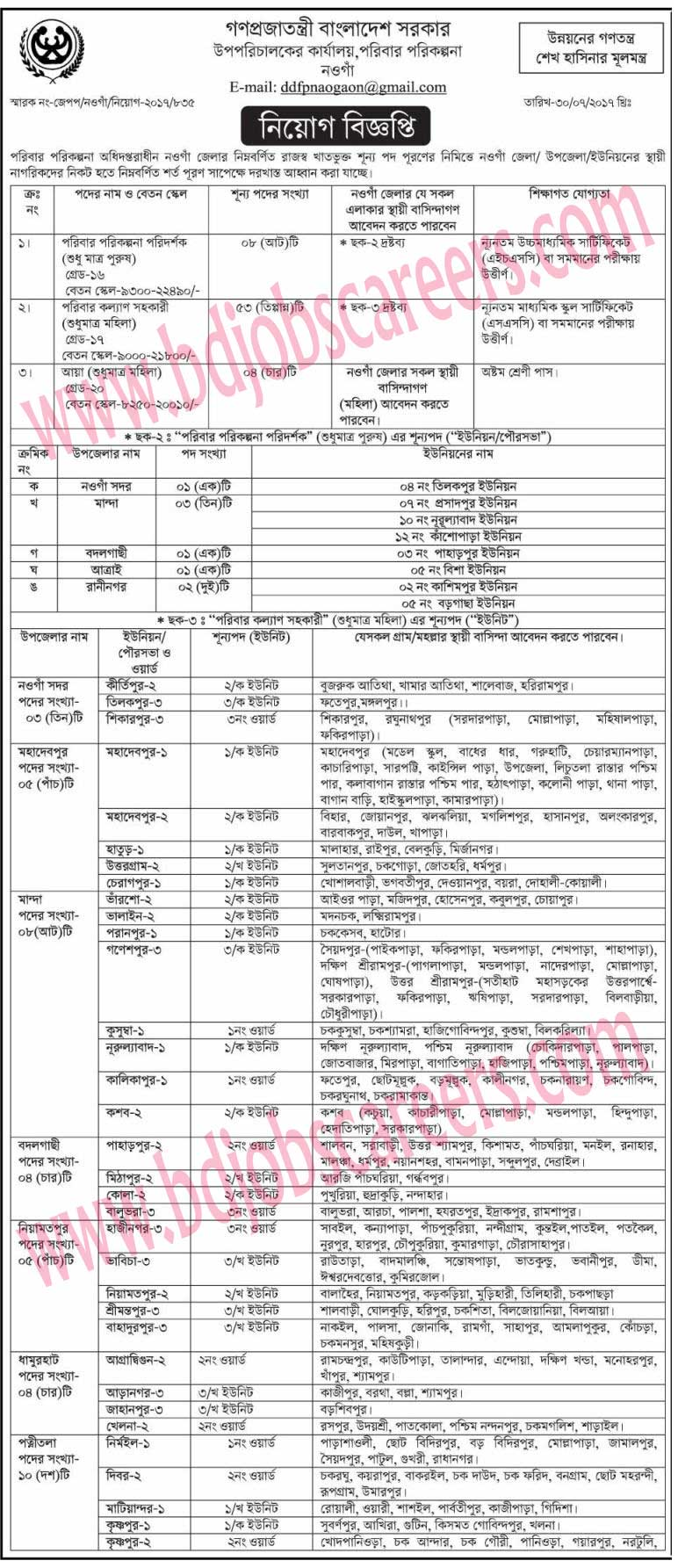 Naogaon District Family Planning Deputy Director's Office Job Circular 2017