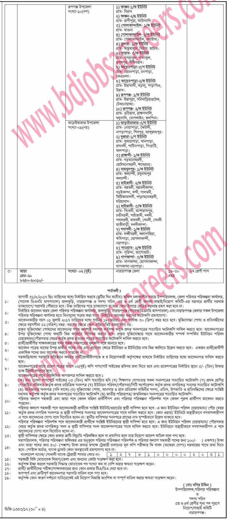 Narayanganj District Family Planning Office Job Circular 2017-1