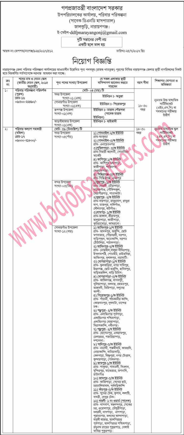 Narayanganj District Family Planning Office Job Circular 2017