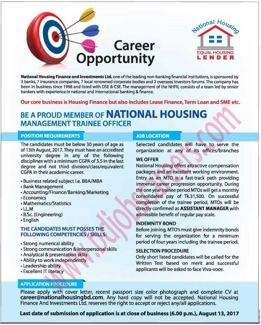 National Housing Finance and Investments Ltd Job Circular 2017