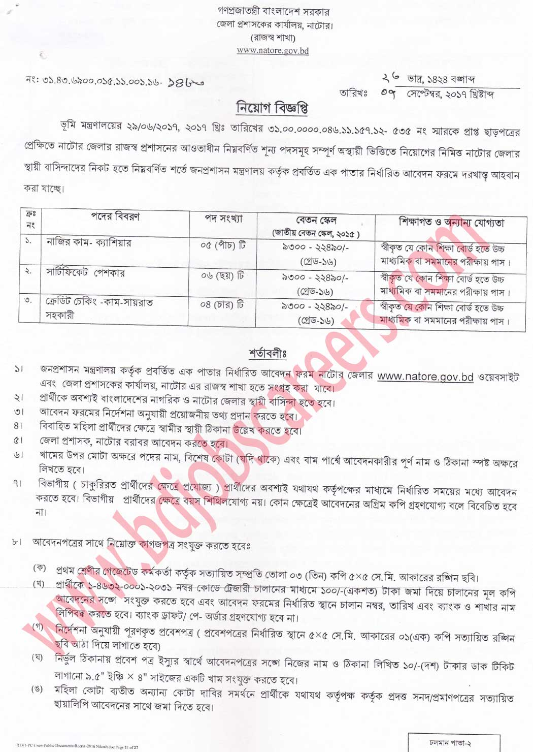 Natore Deputy Commissioner's Office Job Circular 2017
