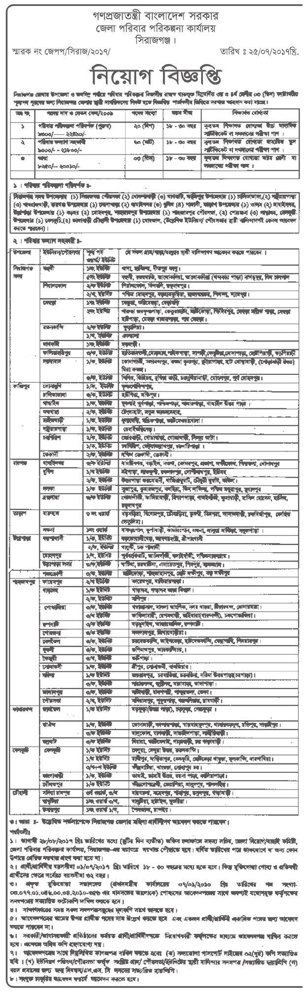 Sirajganj District Family Planning Office Job Circular 2017-1