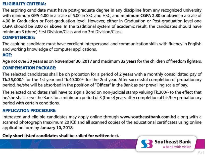 Southeast Bank Job Circular 2017
