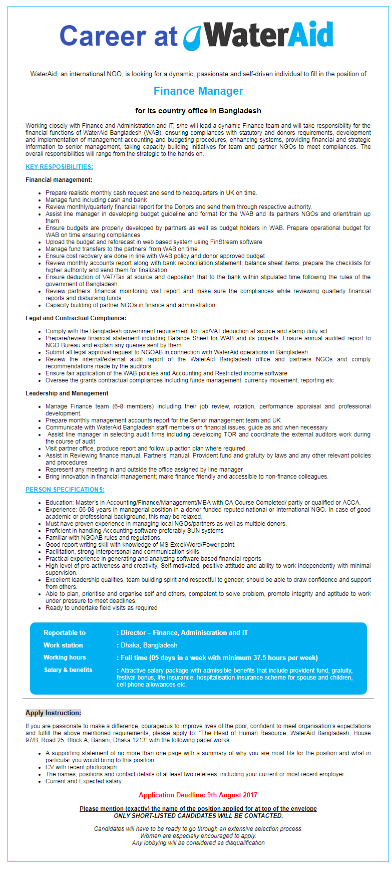 WaterAid Bangladesh Job Circular 2017